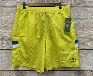 Umbro Premier Nylon Shorts Mens XL Yellow Checkered Nylon Athletic Shorts New