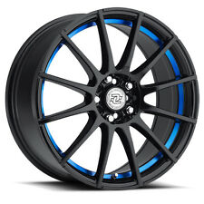 4-NEW Drag Concepts R-16 17x7 4x100/4x114.3 +40mm Black/Blue Wheels Rims