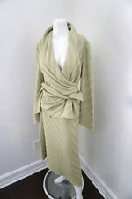 St. John Collection Chartreuse Green Ribbed Long Skirt with Wrap Sweater 14
