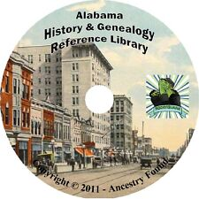 ALABAMA AL - History & Genealogy - 62 Books on DVD, Ancestors, County, Family CD