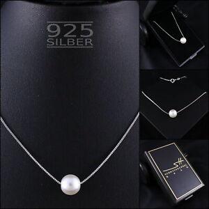 Perlen-Kette Perle Halskette, 925 Sterling Silber, Damen, mit Etui & Zertifikat