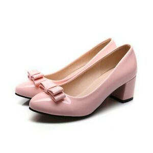 Womens Bowknot Mary Jane Lolita Pumps Chunky Heel Pointed Toe Ladies Court Shoes
