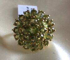 4.4 Ct, AA, Peridot Ring, Cluster, 14K Y Gold Overlay Sterling Silver, Size P