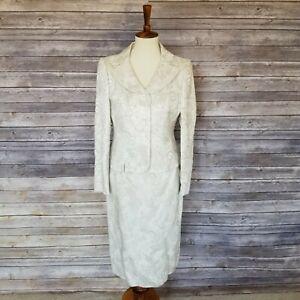 SUIT STUDIO sz 6P women's ivory jacquard blazer and skirt suit set (J05)