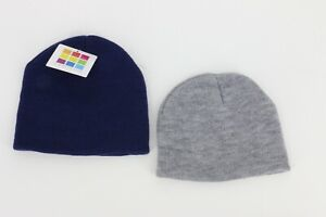 Healthtex Baby Boy Girl Winter Basic Knit Hat Set Bundle Gray Navy One Size