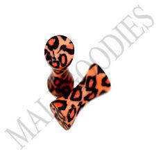 0186 Double Flare Acrylic Leopard Cheetah Print Saddle Ear Plugs 10G Gauge 2.5mm