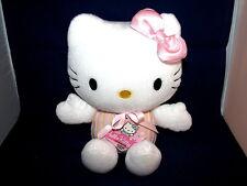 """Sanrio Hello Kitty Plush Stuffed Doll White Cat Bow Strips Sega w Tag 2007 9"""""""