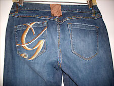 WOMENS G-UNIT EMBROIDERED STRETCH CROPPED CAPRI JEANS SIZE 5 PRISTINE!!