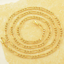 "Wide 4mm 9K Real Gold Filled 3-Link Mens Chain 24"",F2519"