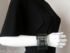 CHANEL Black Crystals Lace CC Flowers Pearls Transparent Cuff Bracelet NEW