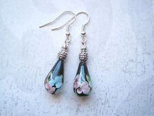BLACK GLASS TEARDROP Pink Blue Green BLOSSOM FLORAL SP Earrings Gift Bag FLOWERS