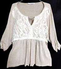 Maurices beige spotted floral lace trim ruched sleeve plus size top 3 , 3X
