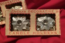 Foil Candle Holders,Silver,Gold,Vinta ge,Usa,Happy Holiday,Attleboro,Ma,Set Of 2