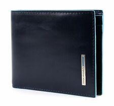 PIQUADRO Blue Square Wallet with Coin Case Geldbörse Blu Notte Blau Neu