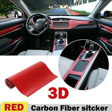 Red 40*100cm 3D Car Interior Accessories Panel Carbon Fiber Anti Scratch Sticker