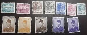 Indonesien 1953 Ansichten und Sukarno ex Mi 100-117 mnh