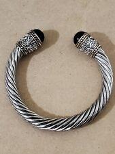 David Yurman Silver, Gold Braided Cable Bangle Bracelet with Onyx
