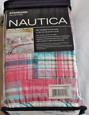 New Nautica SUTTER CREEK Quilted Standard Pillow Sham Madras Plaid Pink Teal