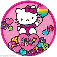 HELLO KITTY Rainbow SMALL PAPER PLATES (8) ~ Birthday Party Supplies Dessert