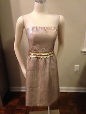 NWT Tahari Gold Sequin Convertible Strap Dress 8