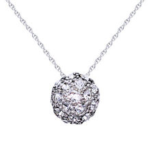 18K GOLD Over BALL WEDDING Created DIAMONDS LADY SOLID PENDANT