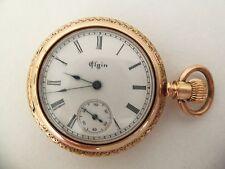 Reloj de bolsillo Elgin/colgante (14k Solid Gold Hunter caso con 5 Diamantes De Corte) 1890