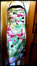 Ladies Dress - Bebe Greens with Pinks/Black  Size L Viscose/Cotton VG Condition