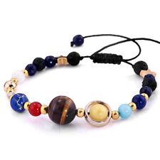 Men Women Universe Planets Galaxy Eight Solar Stone System Beads Bracelet Lucky