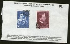 POSTAGE STAMPS x2 : ROUMANIA 1956 GEORGE ENESCU 75th ANNIVERSARY