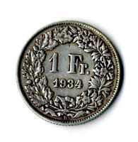 Moneda Suiza 1934 B 1 franco suizos plata .835 silver coin Helvetia