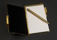 Vintage Taiwan Gold plated & Enamel pocket memo with Golden Mechanical pen