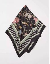 New With Tags GP & J Baker X H&M Black Floral Bird & Pattered Weave Brand Scarf