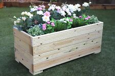 1 METRE LARGE EXTRA WIDE WOODEN GARDEN PLANTER TROUGH HAND MADE IN DECKING