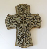 Vintage Cross Wall Hanging Plaque Stoneware Pottery
