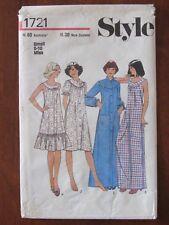 STYLE PATTERN - 1721 LADIES SLEEPWEAR DRESSING GOWN ROBE NIGHTDRESS 8-10 UNCUT