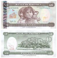 Eritrea 5 Nakfa 1997 P-2 Banknotes UNC