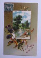 New Year, Blackberries, Landscape, Children, 1908, Embossed Postcard (58344)