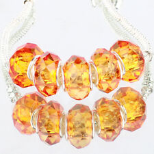 Crystal orange 5pcs MURANO glass bead LAMPWORK fit European Charm Bracelet