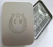 POKER PLAYING CARDS IN A TIN BOX CASE WITH A STAR & HORSESHOE & INITIALS C.W.