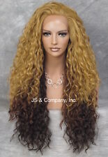 Volumious Lace Front Wig Curly HEAT SAFE OMBRE Blonde Brown Auburn Mix RUW 832