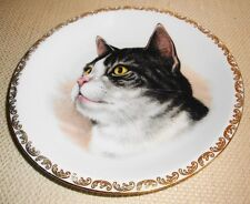 "Vtg France Black White Tabby Cat Plate 7-1/4"" Porcelaine d'Art France Crown Mark"