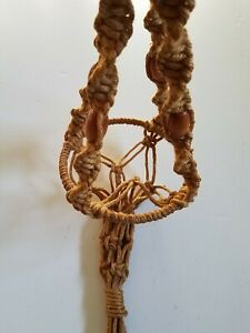 "Vintage Macrame Beaded Plant Hanger Jute Rope Ring Holder Brown 36"" 3 Ft"