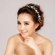 Braut Hochzeit Zirkonia Kranz Blüte Blume Haarreifen Tiara Stirnband Strass NEU