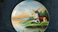"Hand Painted Decorative Plate Windmill scene hand, made in Japan 7"" diam."