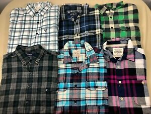 NICE LOT 6 AMERICAN EAGLE PLAID LONG SLEEVE BUTTON UP SHIRT MENS L (4 Flannel)