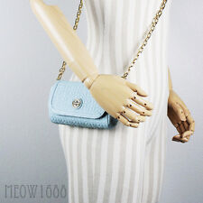 New Tory Burch BRYANT Iceberg Baby Blue Quilted Cross Body Purse Clutch 34029