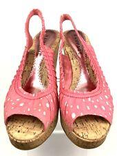 Rampage Daria Wedge Heels Sz 10M Pink White Eyelets Cork Platform Fabric Womens