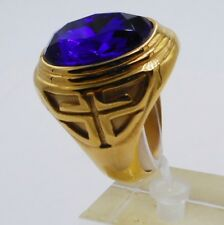 Steel Yellow Gold Cross Christian Pope 1 Men Ring Size 8 Blue Sapphire Stainless