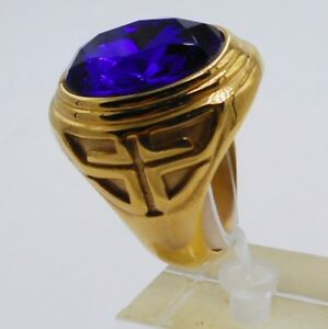 MEN RING SIZE 8 BLUE SAPPHIRE STAINLESS STEEL YELLOW GOLD CROSS CHRISTIAN POPE 1