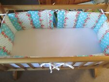 Cushi cots swing crib bumper girls twin pack/full wrap pink rose/turquose dot